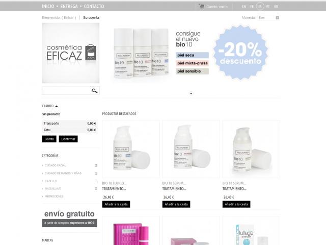 CosmeticaEficaz.com – Prestashop web con ventas internacionales