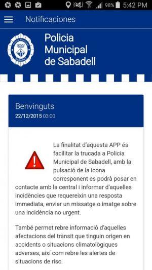 ionic app ajuntament sabadell policia incidencias